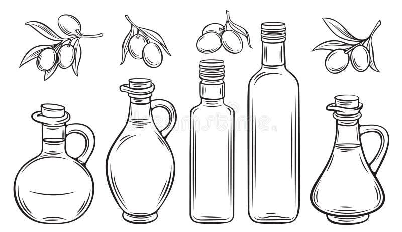 Olivenöl und Oliven lizenzfreie abbildung