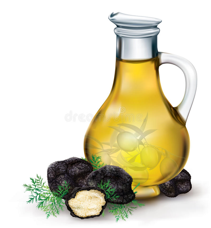 Olivenöl und schwarze Trüffel lizenzfreie abbildung