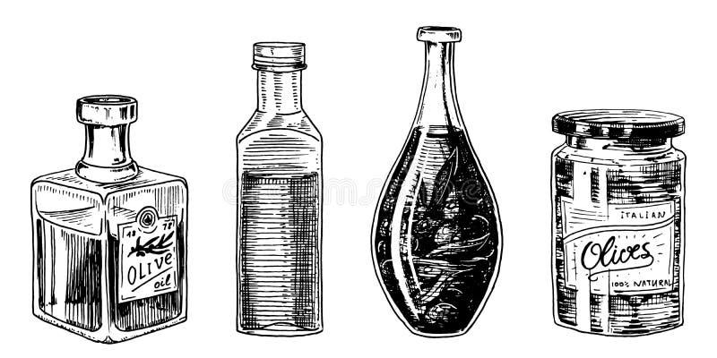 Olivenöl von Bäumen in der Flasche und in den Gläsern mit Aufklebern und Emblemen Organisches vegetarisches Produkt Schwarze Fruc lizenzfreie abbildung