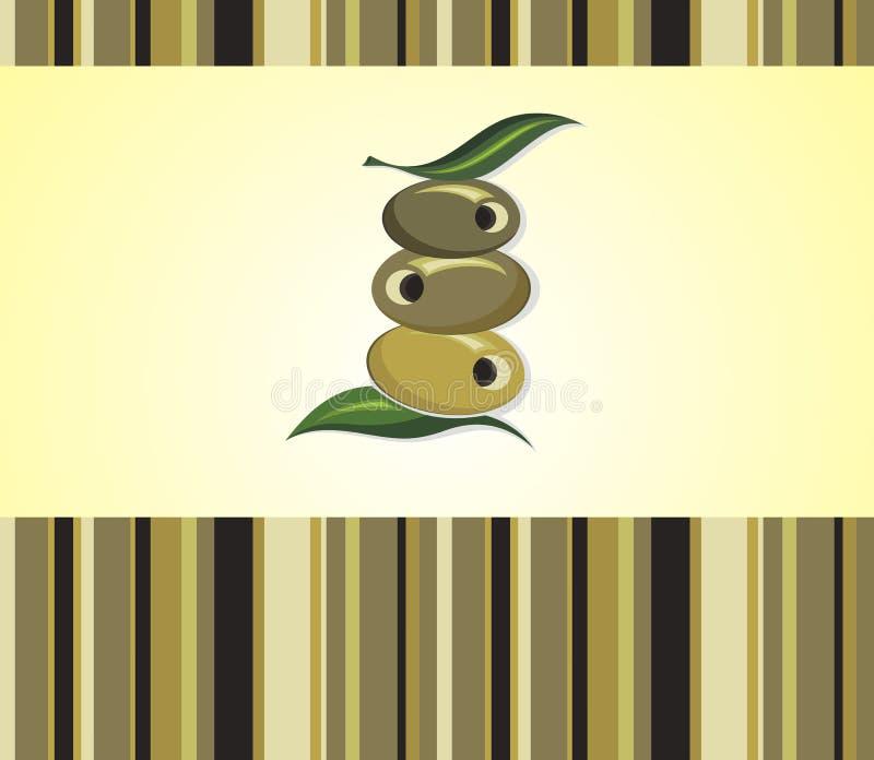 Olivenölaufkleber Vector Illustrationsschablone für Olivenöl, Vektordesign vektor abbildung