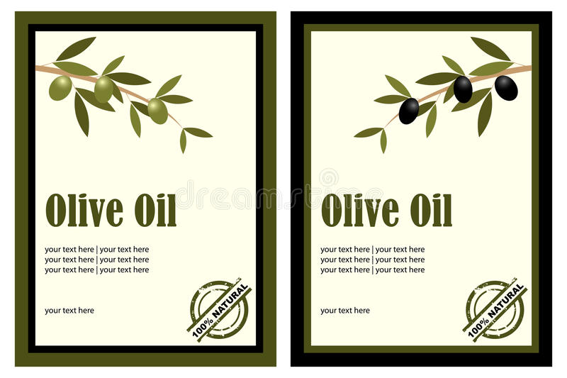 Olivenölkennsätze lizenzfreie abbildung