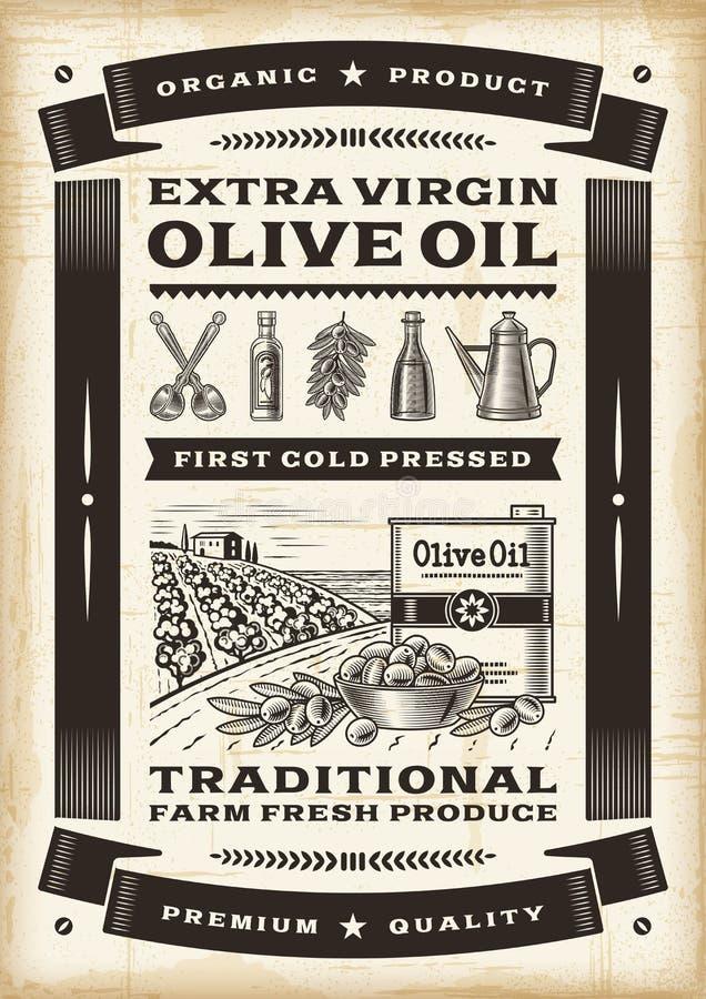 Olivenölplakat der Weinlese stock abbildung