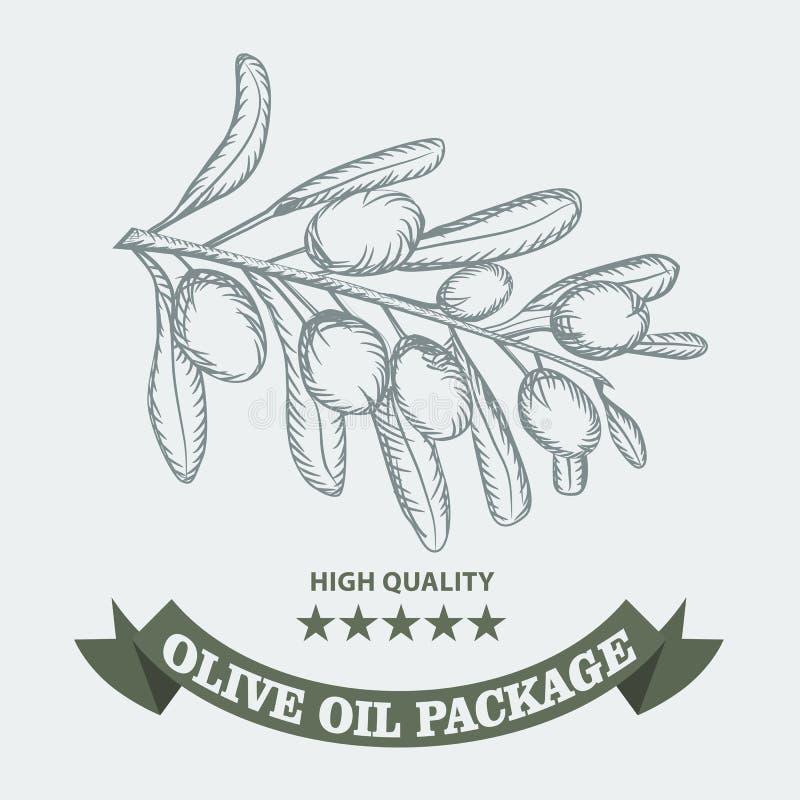 OlivenölVerpackungsgestaltung für Aufkleber mit Weinleseskizzenart Auch im corel abgehobenen Betrag vektor abbildung
