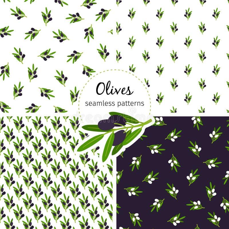 Oliven kopieren nahtlose Sammlung mit grünem Blatt stock abbildung