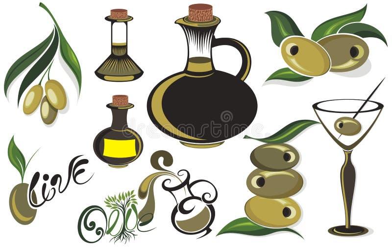 Oliven tragen Früchte, verzweigen sich, des Baums und des Olivenöls Flaschensatz stock abbildung