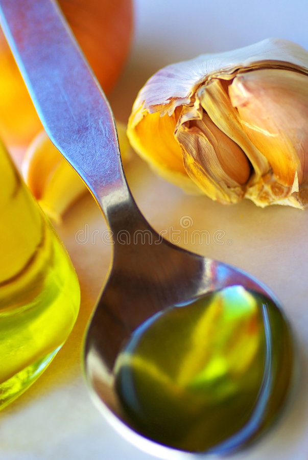 Oliveoil and food ingredients. stock images