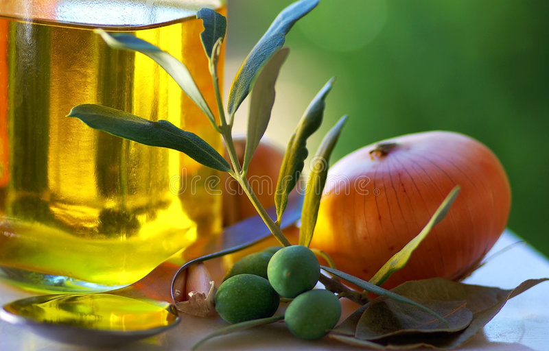 Oliveoil and food ingredients. royalty free stock photography