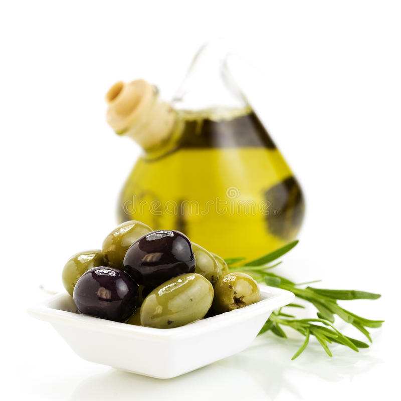 Oliveoil and olives royalty free stock photography