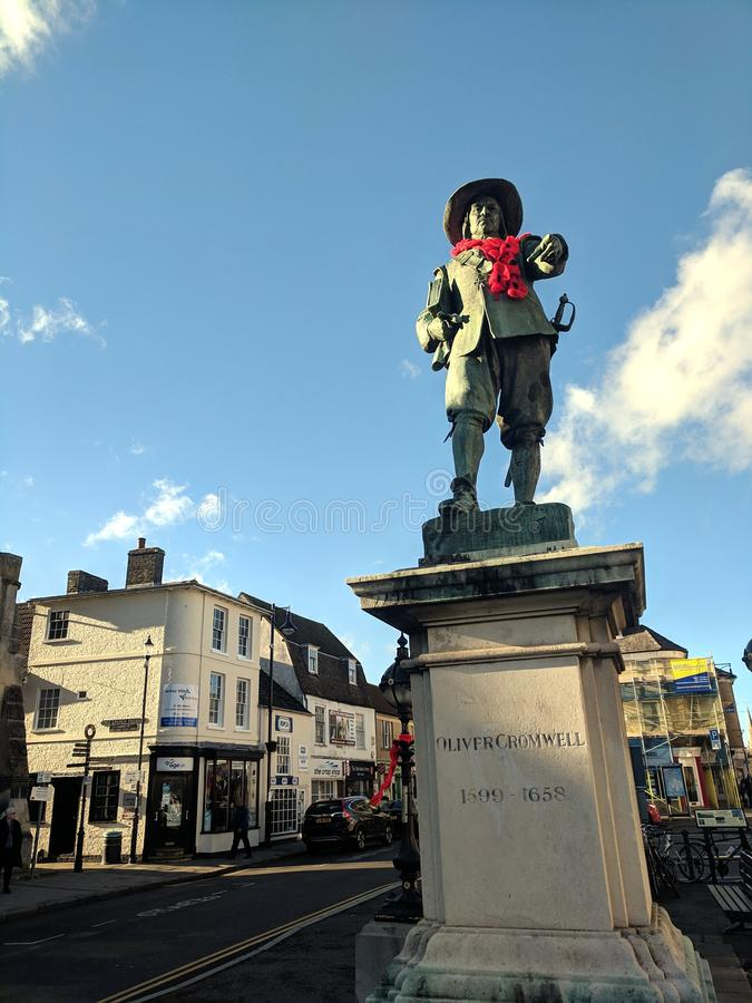Oliver Cromwell with poppy necklace royalty free stock photos