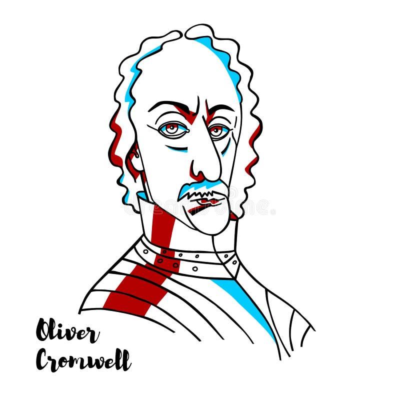 Oliver Cromwell Portrait illustrazione di stock