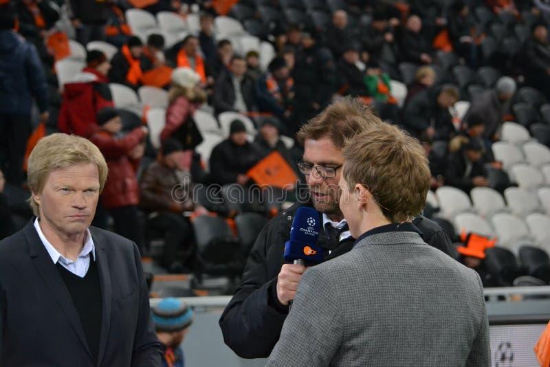 Oliver Kahn, Jurgen Klopp is interviewed stock image