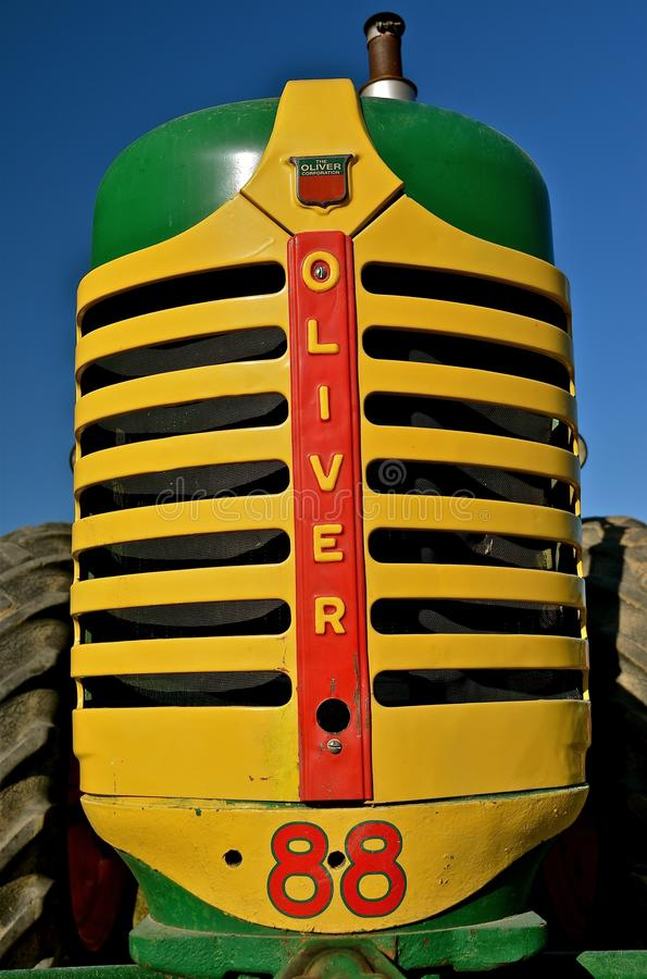 Oliver 88 Restoration. ROLLAG, MN, SEPT 1, 2013: A restoration of an Oliver 88 tractor is on display at the West Central Steam Threshers Reunion (WCSTR) which stock photography