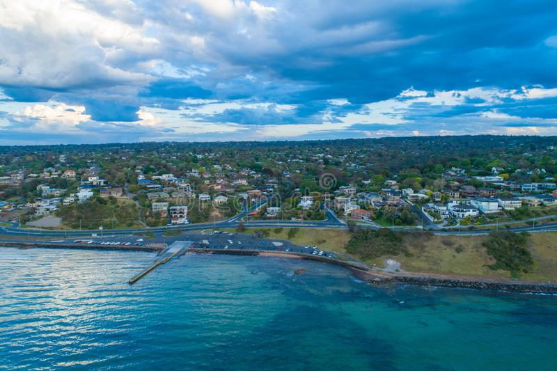 Oliver`s Hill - luxury residential area. Oliver`s Hill - luxury residential area on Mornington Peninsula Coastline stock photo