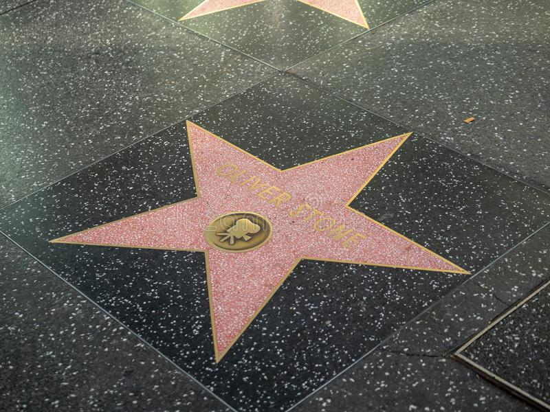 Oliver Stone-directeursster op de Hollywood-Gang van Bekendheid stock foto