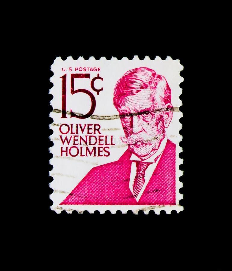 Oliver Wendell Holmes, Beroemde Amerikanen serie, circa 1978 royalty-vrije stock afbeeldingen