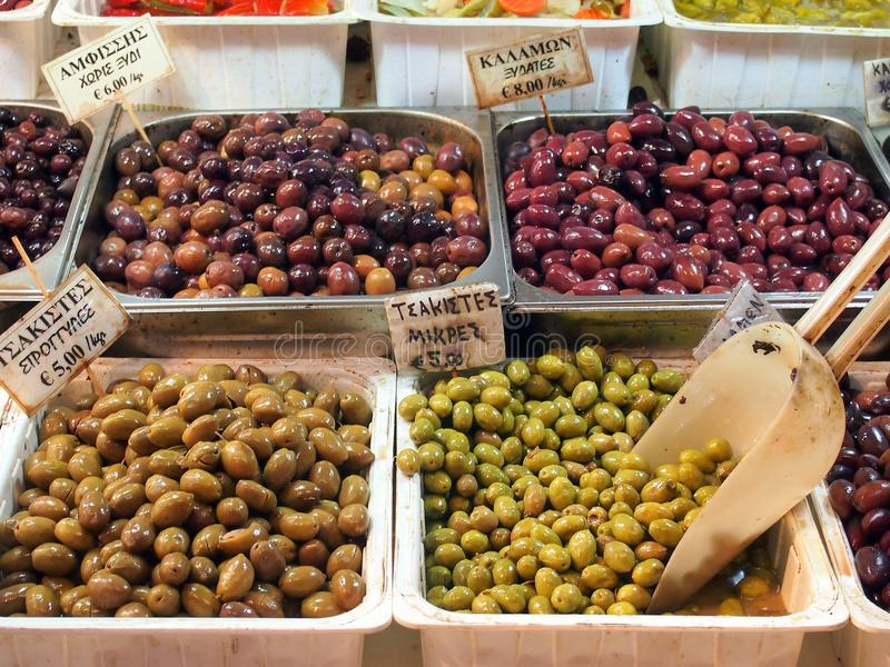 Olives, Athens Markets. Green and black loose olives for sale, Athens central markets, Greece stock images