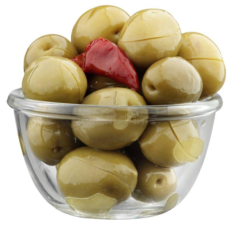 Olives avec le poivre photo libre de droits