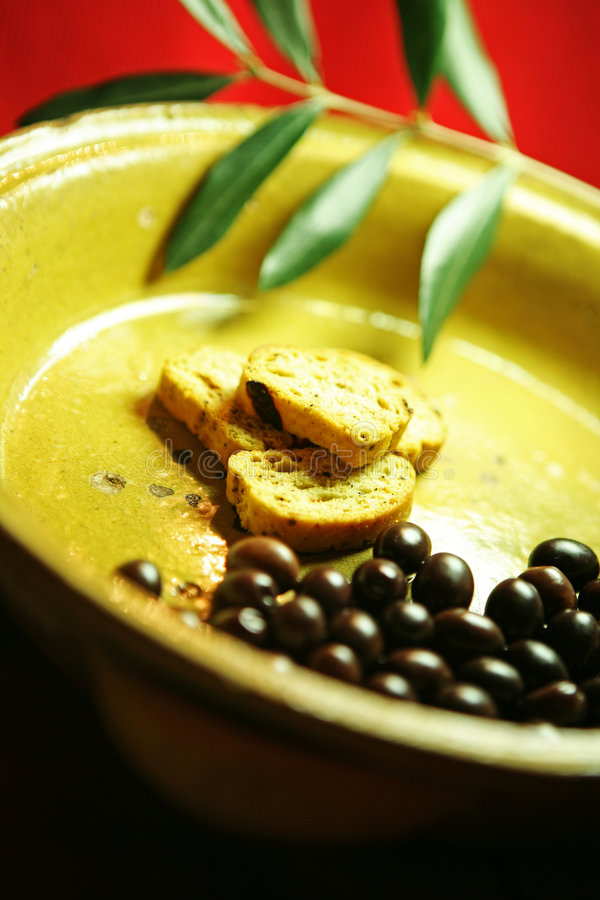Olives and bruschette stock photography