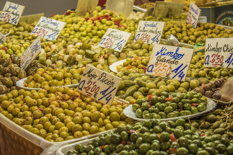Olives, Central market of Malaga city, Spain. Malaga is a municipality, capital of the Province of Málaga, in the Autonomous Community of Andalusia, Spain royalty free stock image
