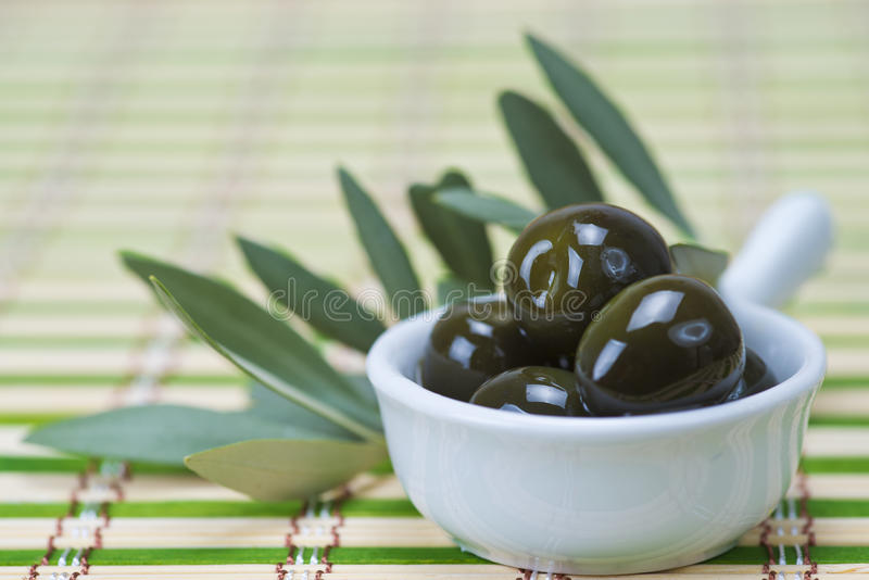Download Olives in a china spoon stock photo. Image of greek, fresh - 27454850