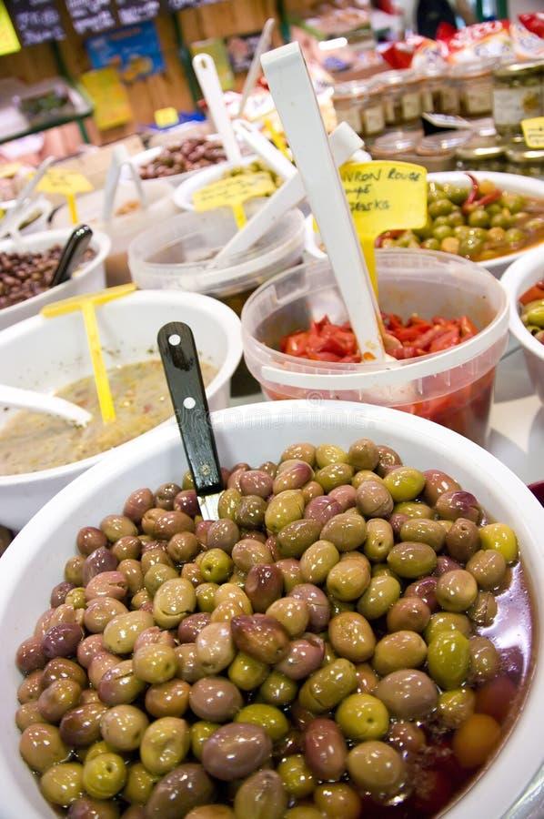 Olives dans le système photographie stock