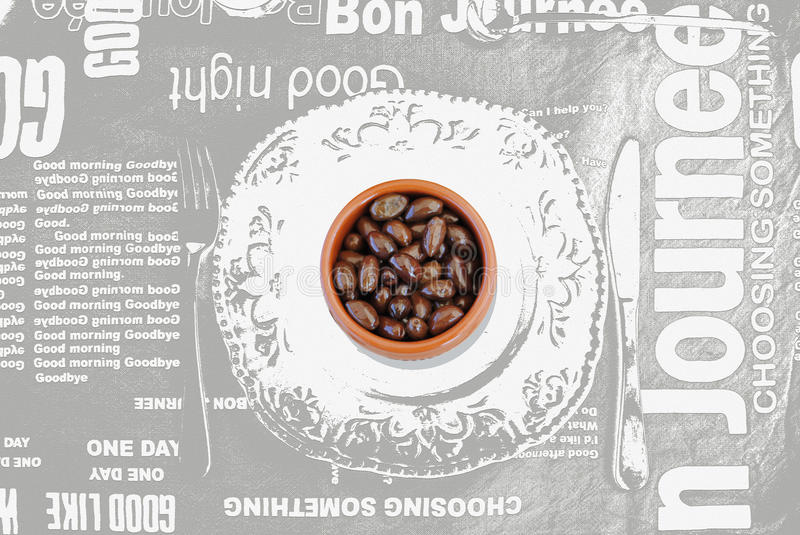 Olives on empty plate graphic royalty free stock photos