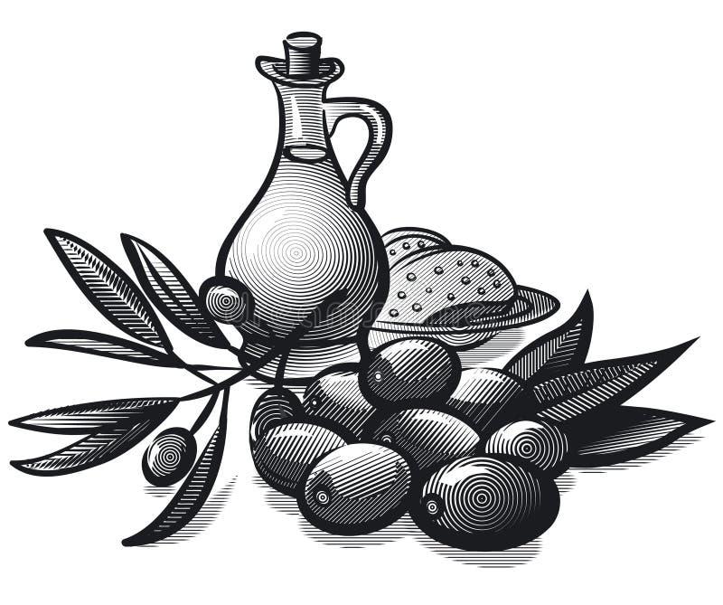 Olives et huile illustration libre de droits
