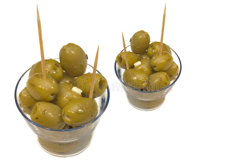 Olives with garlic. royalty free stock photos