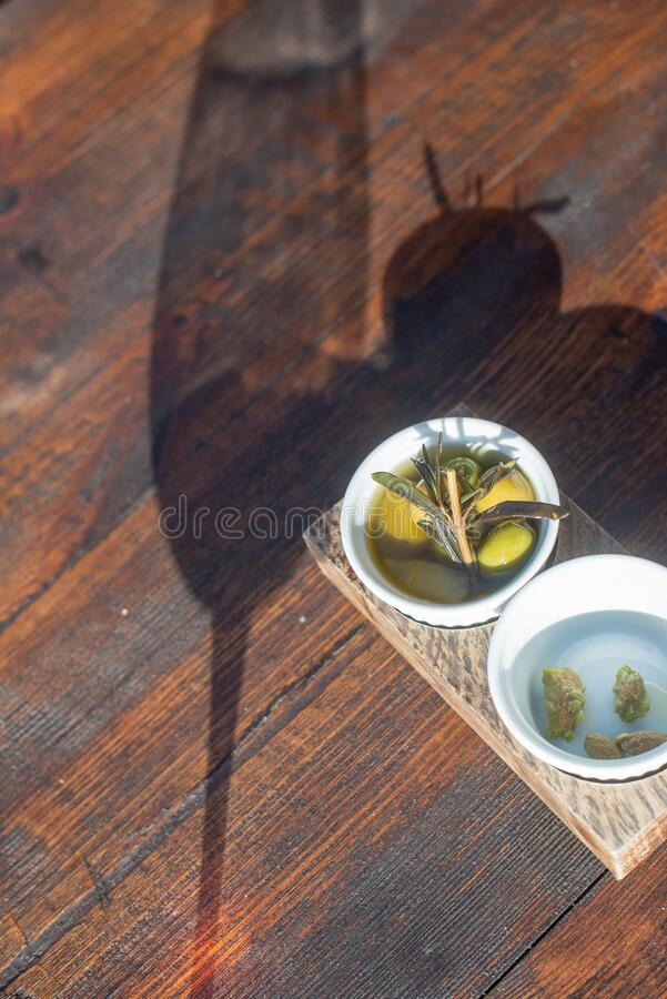 Olives In A Glass Dish  stock images