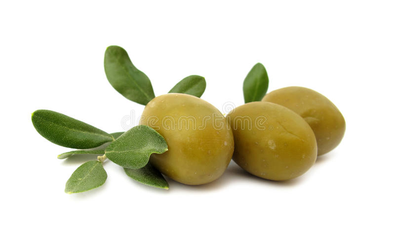 Olives With Green Leaves Stock Photo