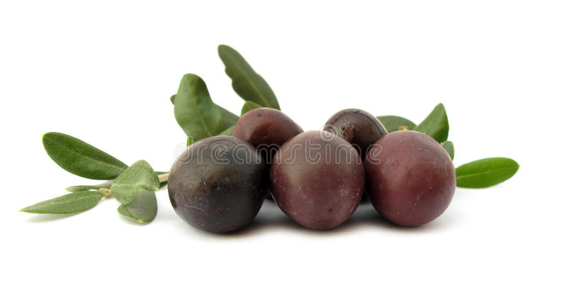 Olives With Green Leaves Royalty Free Stock Photography