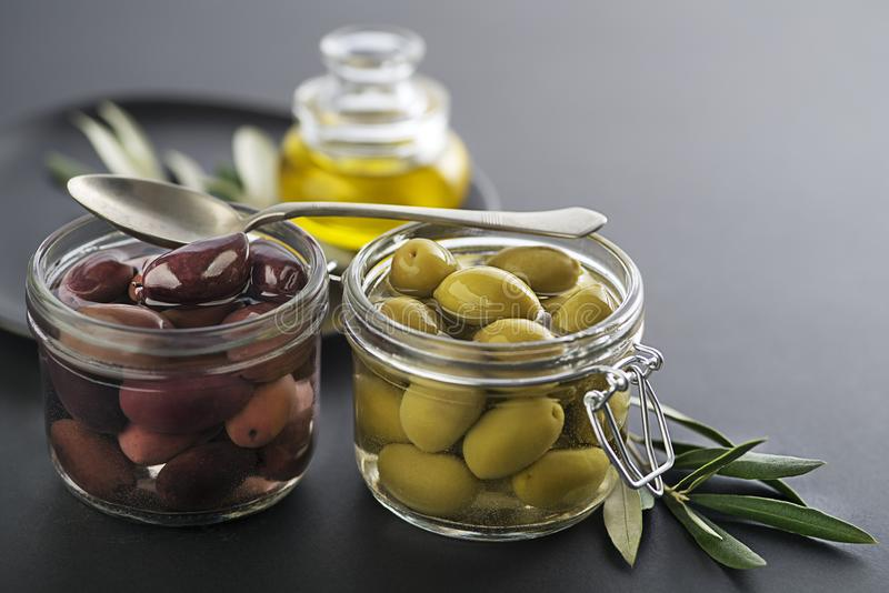 Olives in jar royalty free stock images