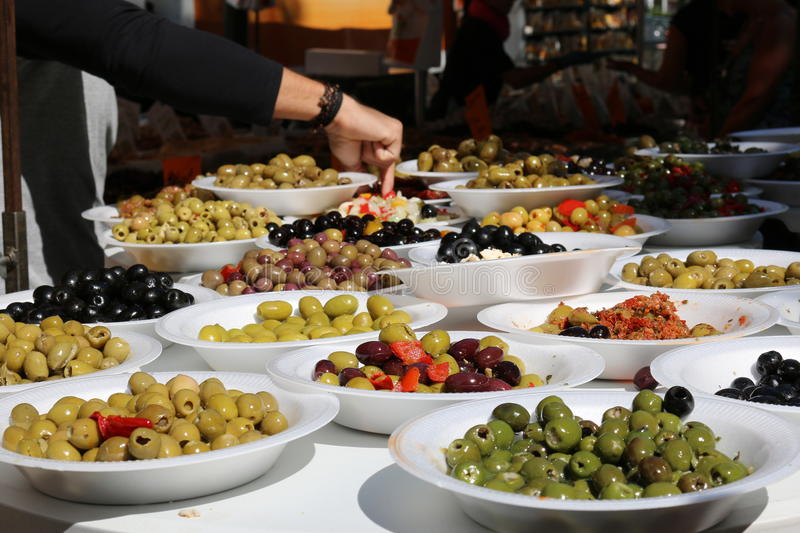 Olives on a Market Stall. A selection of Marinated Olives on a market stall stock image