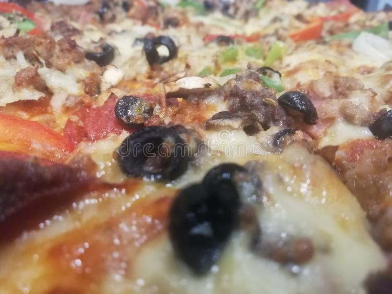 Olives on my Pizza. Pepperoni, salty, meat stock photos