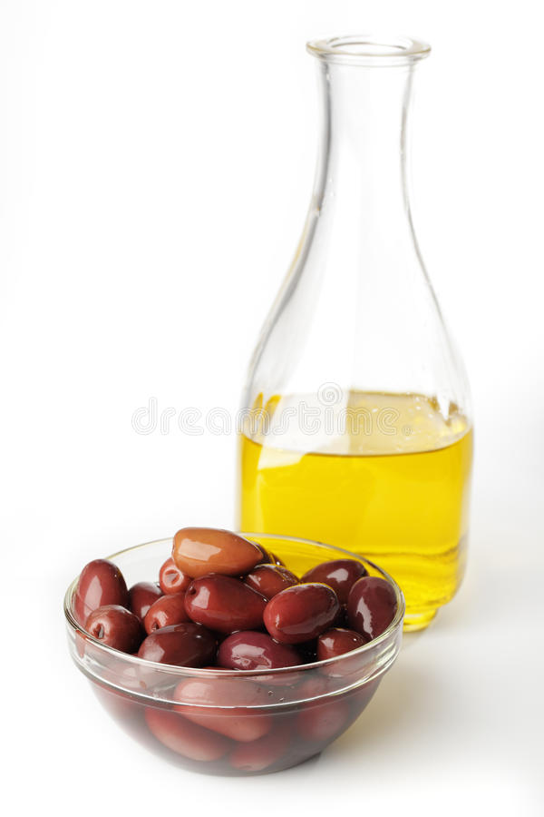 Olives and olive oil royalty free stock photo