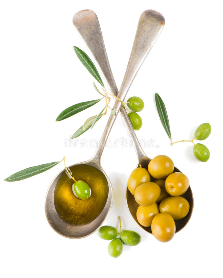 Olives and olive oil, top view royalty free stock photos