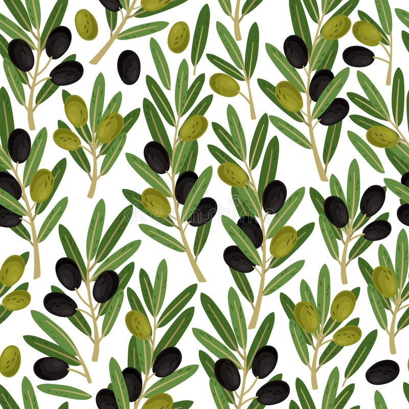 Olives seamless pattern. Olive branches with berries and leaves nature green vector texture on white background stock illustration