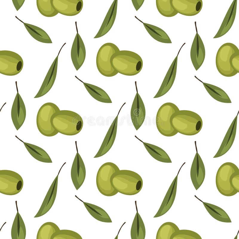 Olives seamless pattern with ripe olives background design vector illustration for olive oil, natural cosmetics. stock illustration