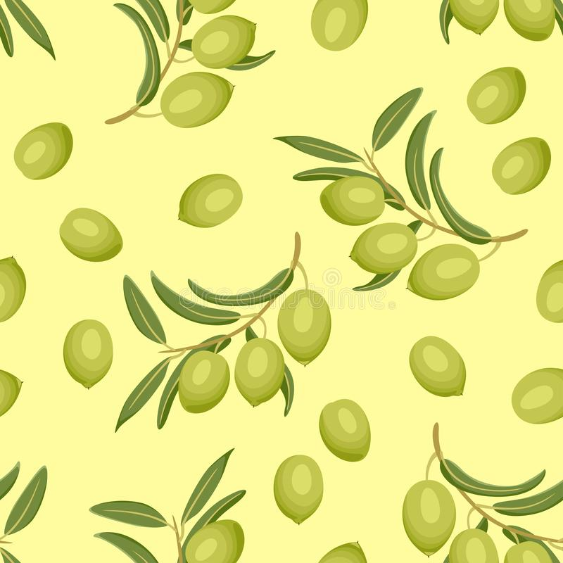 Olives sur le modèle sans couture de fond jaune illustration de vecteur