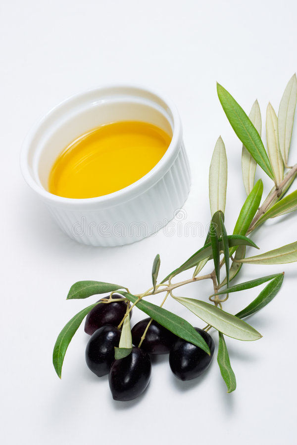 Olives twig and pure olive oil stock photography