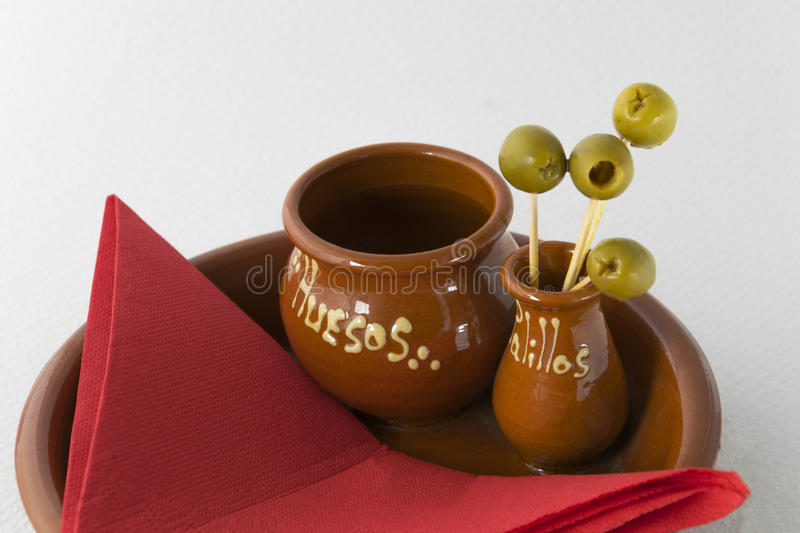 Olives. Used as a complement, adorn the appetizer royalty free stock photography