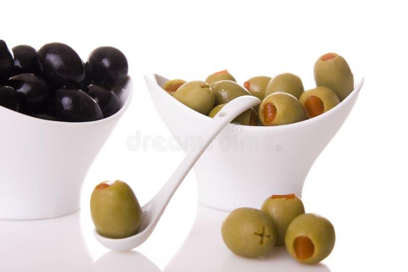 olives vertes noires images libres de droits