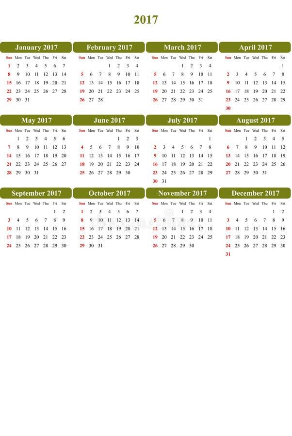 Olivetone färbte klar farbigen einfachen Kalender 2016 lizenzfreie abbildung