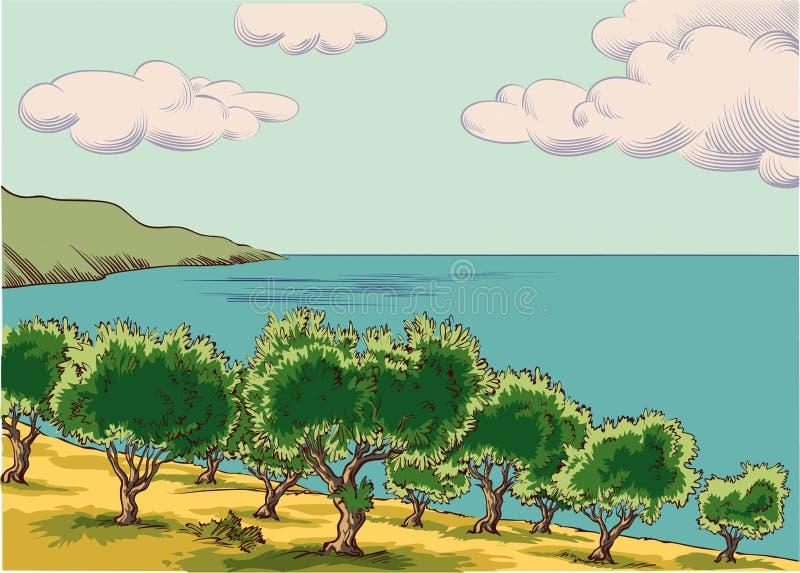 Olivgrön dunge bredvid medelhavet stock illustrationer