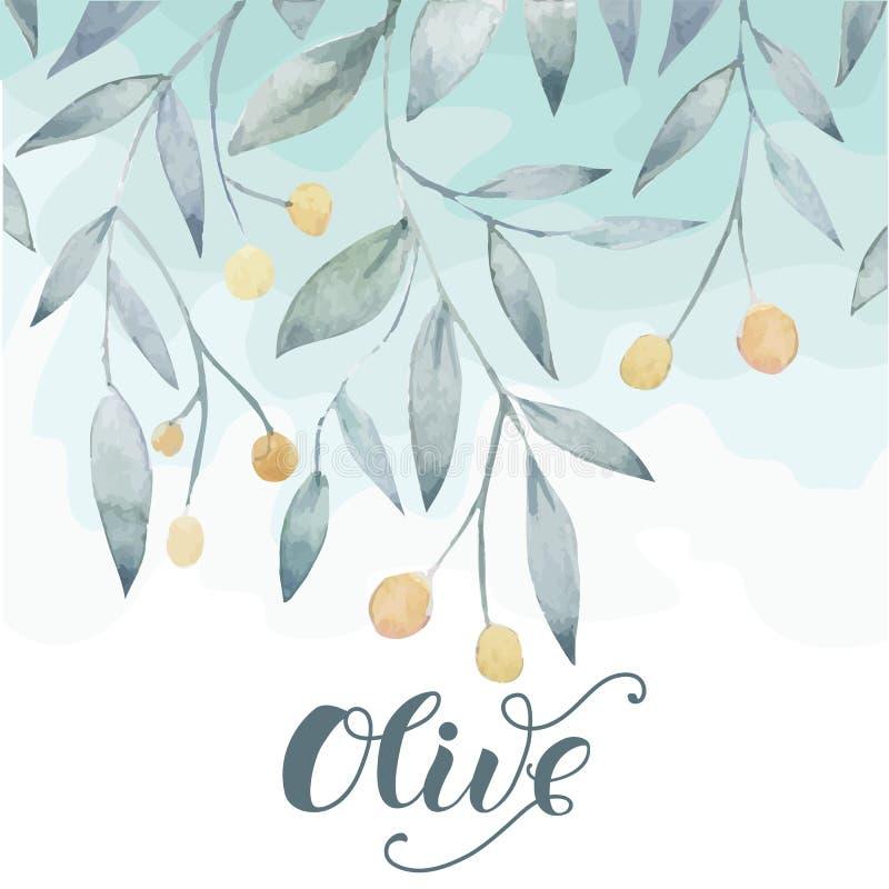 Olivgrön hand dragen bakgrund royaltyfri illustrationer