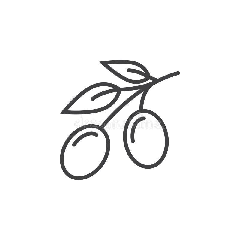 Olivgrön linje symbol, översiktsvektortecken, linjär pictogram som isoleras på vit vektor illustrationer