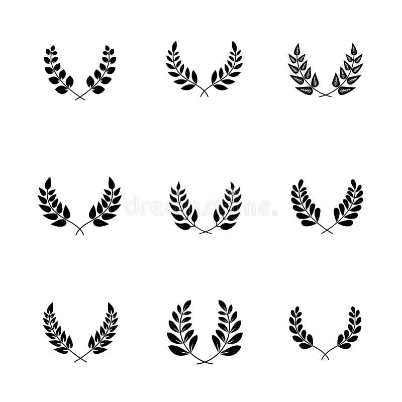 Olivgröna filialer med sidor för den utsmyckade trofén stock illustrationer