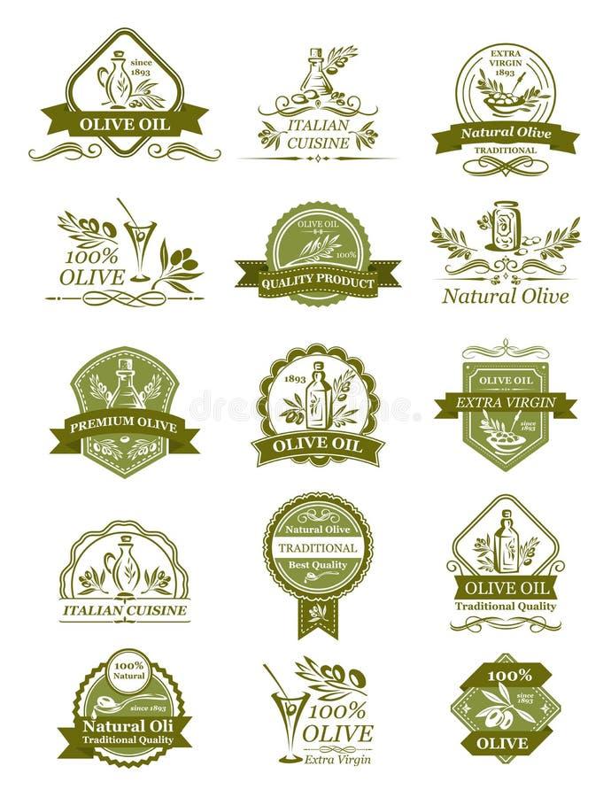 Olivgröna symboler för vektor av för organisk olivolja royaltyfri illustrationer