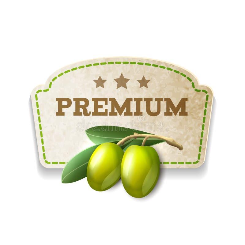 Olivgrönt kökemblem stock illustrationer