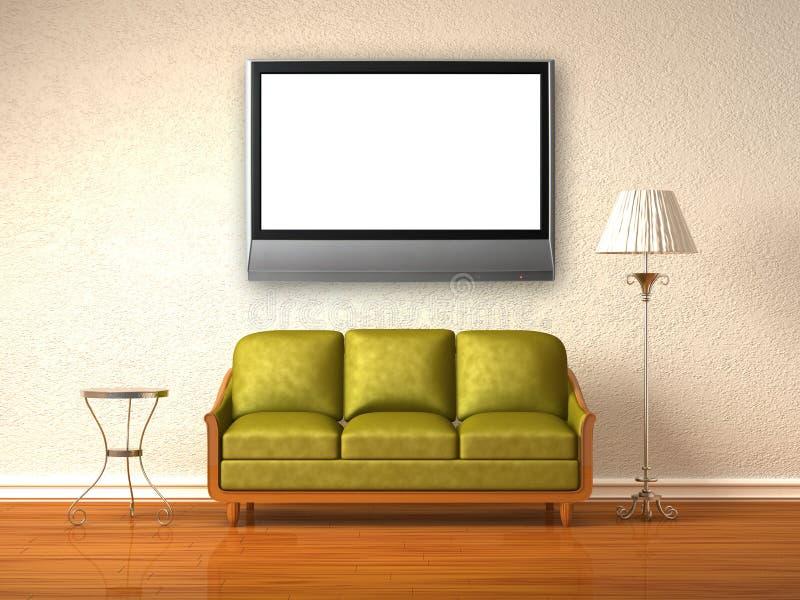 Olivgrüne Couch, Tabelle und Standplatzlampe mit LCD-Fernsehapparat lizenzfreie abbildung